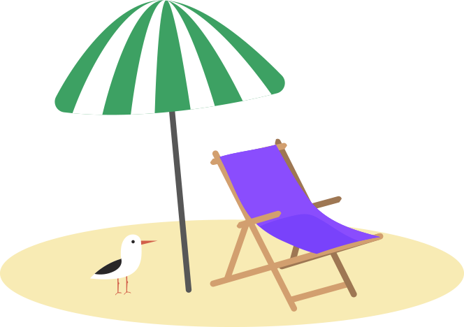 Empty beach chair under an umbrella | Save for vacation with Goodbudget