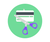 Pair of scissors cutting a credit card | Pay off debt | Goodbudget